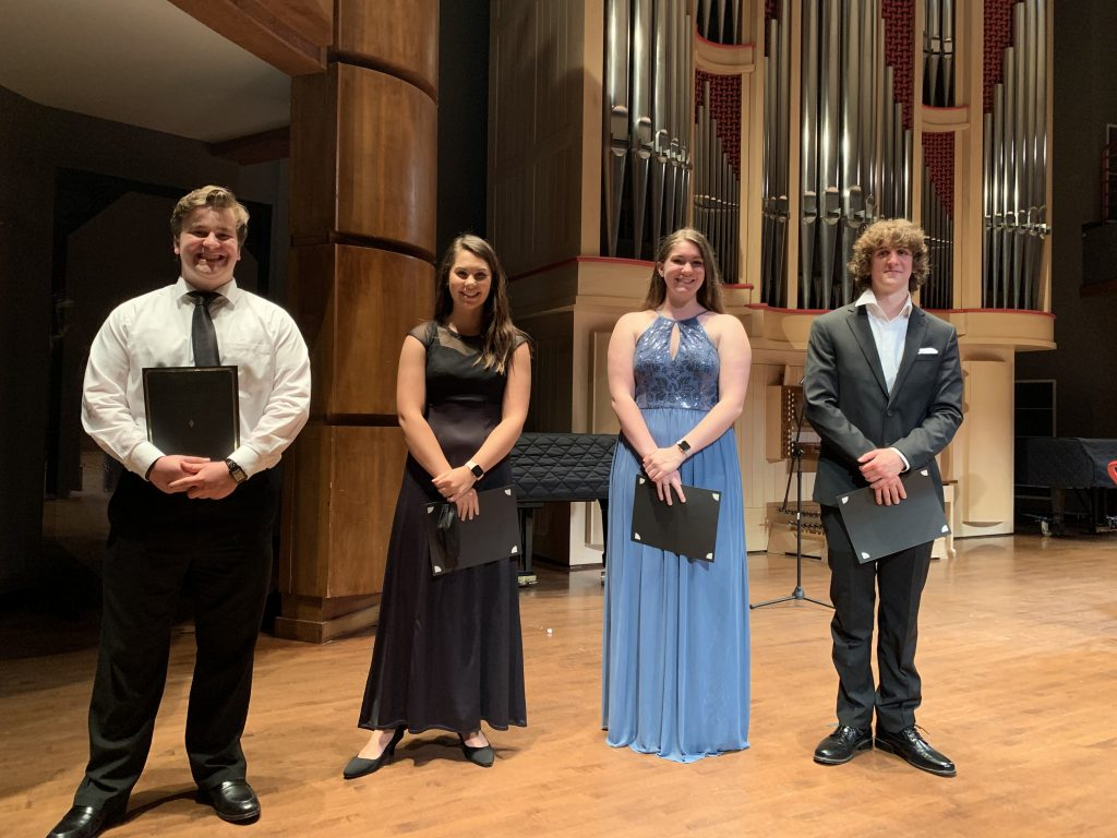 Image of four finalists at the 2021 Master Recital